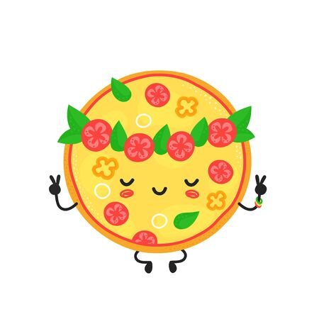Cute happy meditate vegetarian pizza character. Vector flat cartoon illustration icon design. Isolated on white background. Pizza character concept