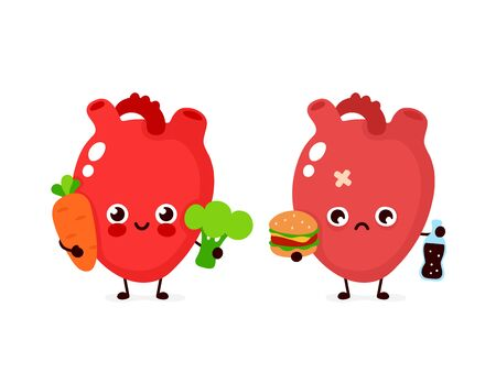 Happy cute smiling healthy with broccoli and carrot and sad sick heart with bottle of soda and burger. Vector modern style cartoon character illustration icon design. Healthy food,heart concept