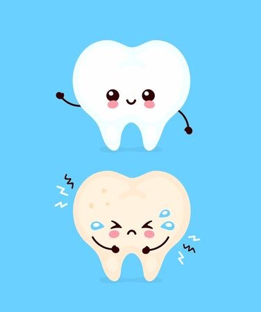 Cute sad unhealthy sick and strong healthy smiling happy tooth. modern cartoon character illustration icon design.Isolated on white background.Tooth,teeth,dental care,dentist concept Stock Illustratie