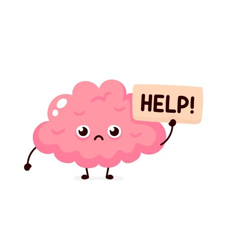 Sad suffering sick cute human brain organ asks for help character. Vector flat cartoon illustration icon design. Isolated on white backgound. Suffering unhealthy brain character concept