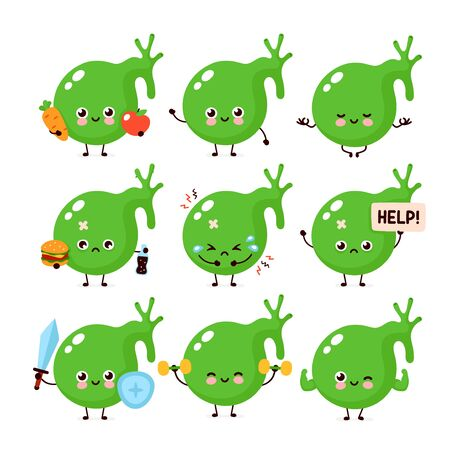 Cute healthy happy and sick sad unhealthy gallbladder organ character set collection. Vector flat cartoon illustration icon design. Isolated on white background. Gallbladder character concept Stock Illustratie