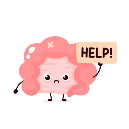 Sad suffering sick cute human intestine organ asks for help character. Vector flat cartoon illustration icon design. Isolated on white backgound. Suffering unhealthy intestine character concept Stock Illustratie