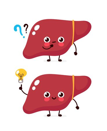 Cute liver with question mark and lightbulb character. Vector flat cartoon character illustration icon design. Isolated on white background. Uterus have idea concept Stock Illustratie