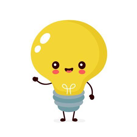 Nette glückliche lächelnde Glühbirne. Vektor-flache Cartoon-Illustration-Icon-Design. Isoliert auf weißem Hintergrund. Glühbirne Charakterkonzept Vektorgrafik