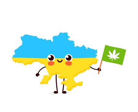 Cute funny smiling happy  Ukraine map and flag character with cannabis marijuana flag. Vector cartoon character illustration icon. Ukraine marijuana weed, medical,recreation cannabis concept