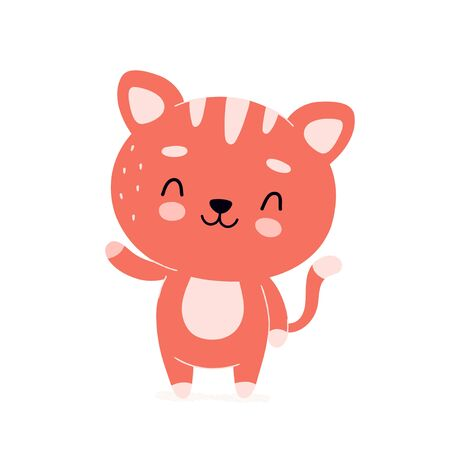 Cute happy smiling cat character. Vector modern trendy flat style cartoon illustration icon design. Isolated on white background. Cat,kitty character concept