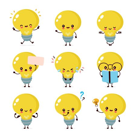 Cute happy smiling light bulb character set collection. Vector flat cartoon illustration icon design. Isolated on white background. Light bulb character concept