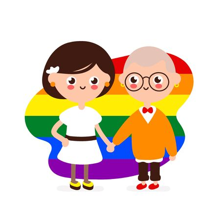 Cute happy smiling lesbian couple.Lesbians woman in love together hold hands. Vector modern flat style illustration icon design. Isolated on white background. Homosexual family,gay,LGBTQ  concept Foto de archivo - 128679293