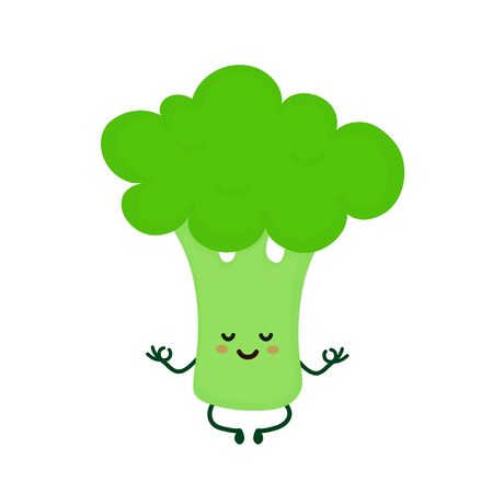 Cute smiling happy strong broccoli meditate in yoga pose.Vector flat cartoon character illustration icon. Isolated on white background.Broccoli yoga meditate,gym,sport,health,fitness nutrition