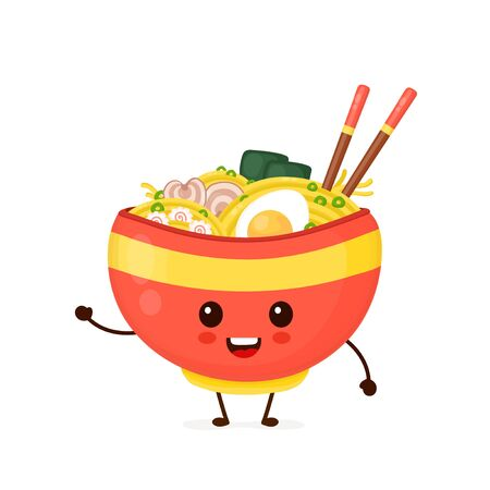 Happy cute smiling funny ramen bowl. Vector flat cartoon character illustration icon design.Isolated on white background. Cute kawaii ramen bowl character.Asian,japanese,korean,chinese food concept
