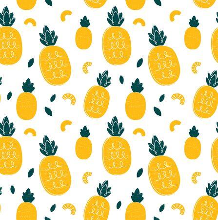 Mano de piña dibujo estilo belleza de patrones sin fisuras. Ilustración de vector color de patrones sin fisuras. Piña, concepto de friut tropical