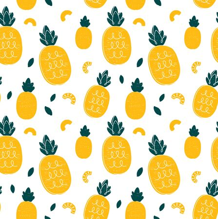 Pineapple hand drawing style beauty seamless pattern. Vector illustration color seamless pattern. Pineapple,tropical friut concept