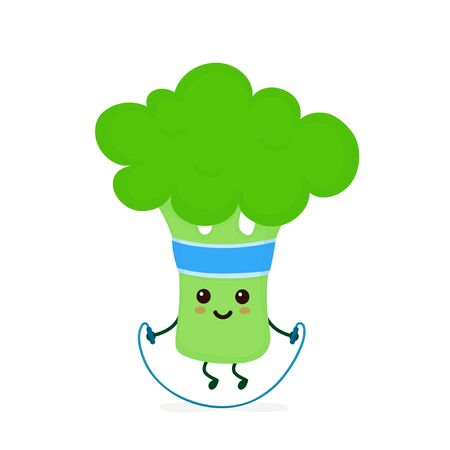 Cute smiling happy strong broccoli with jumping rope.Vector flat cartoon character illustration.Isolated on white background.Broccoli,gym lifestyle,sport jump rope,health,fitness nutrition concept Illustration