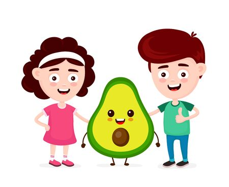 Cute happy funny smiling boy,girl and avocado. Boy show thumb up. Vector flat cartoon character icon design. Isolated on white background. Avocado,friends,kids healthy food concept