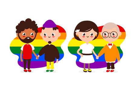 Cute happy smiling gay and lesbian couple.People in love together hold hands. Vector modern flat style illustration icon design. Isolated on white background. Homosexual family,gay,LGBTQ concept Foto de archivo - 128679310