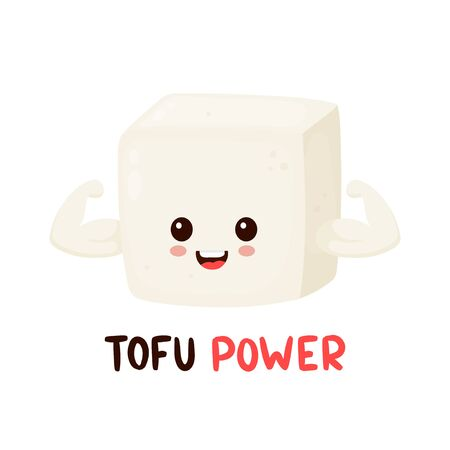 Cute happy smiling strong tofu show muscle biceps. Vector flat cartoon character illustration icon design. Isolated on white background. Tofu power card,vegan,vegetarian healthy food nutrition concept 일러스트
