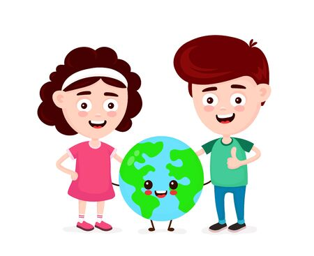 Cute happy funny smiling boy,girl and Earth planet. Boy show thumb up. Vector flat cartoon character icon design. Isolated on white background. Earth globe,friends,ecology concept