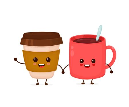 Happy cute smiling funny coffee cups friends. Vector flat cartoon character illustration icon design.Isolated on white background. Cute kawaii coffee paper cup character concept Stock Illustratie