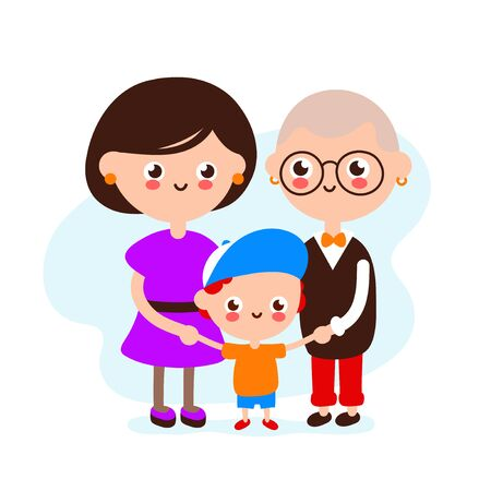 Cute happy smiling lesbian couple with son.Lesbians womans and boy together. Vector flat illustration icon design.Isolated on white background.Homosexual family with child,gay parents,LGBTQ  concept