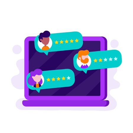 Review rating bubble speeches.Modern flat style character vector illustration avatar icon design.Laptop computer, desktop pc display with reviews stars rate and text, feedback evaluation, messages;