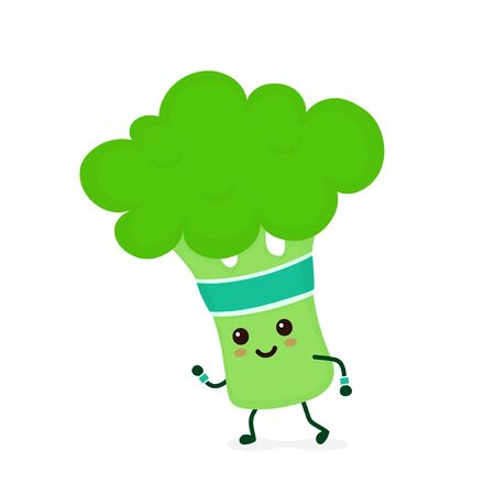 Cute smiling happy strong Broccoli running.Vector flat cartoon character illustration icon. Isolated on white background.Broccoli,gym lifestyle,sport run,health,fitness nutrition concept 向量圖像