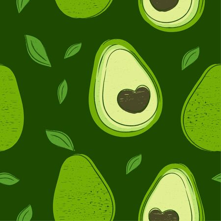Avocado hand drawing style beauty seamless pattern. Vector illustration color seamless pattern. Avocado ,abstract line, tropical friut concept