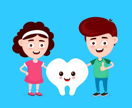 Cute happy funny smiling boy,girl and white tooth. Vector flat cartoon character icon design. Kids dentist,healthy teeth concept