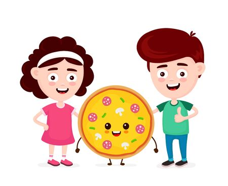 Cute happy funny smiling boy,girl and pizza. Boy show thumb up. Vector flat cartoon character icon design. Isolated on white background. Pizza,friends,fast food cafe,pizzeria kids menu concept  イラスト・ベクター素材