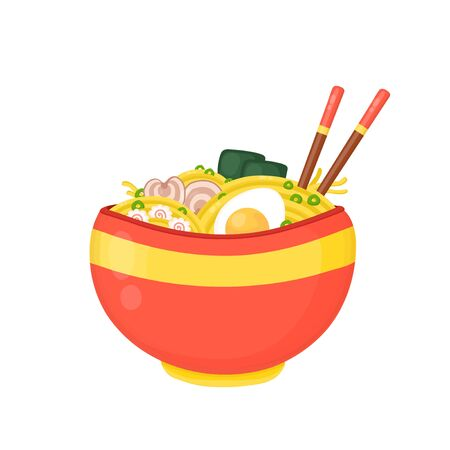 Cartoon ramen bowl. Vector flat cartoon illustration icon design.Isolated on white background.Asian,japanese,korean,chinese food,ramen noodle bowl concept