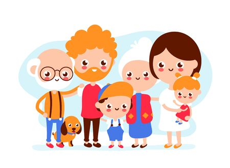 Cute happy smiling big family.Grandfather,grandmotger,father, mother, son and daughter together. Vector modern flat style illustration icon design. Isolated on white background. Happy family concept