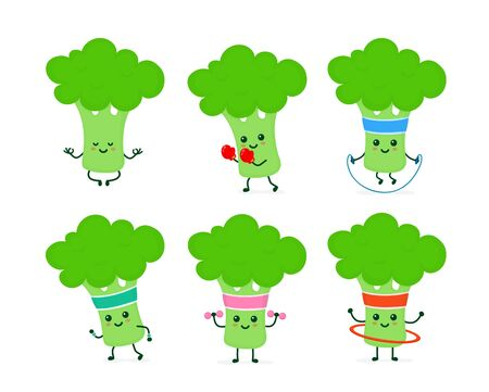 Cute smiling happy strong broccoli health and fitness set.Vector flat cartoon character illustration icon. Isolated on white background.Broccoli yoga meditate,gym,sport cardio,weightlifting concept
