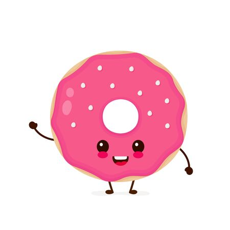 Happy cute smiling donut. Vector flat cartoon character illustration icon.Isolated on white background. Cute donut character concept Illustration