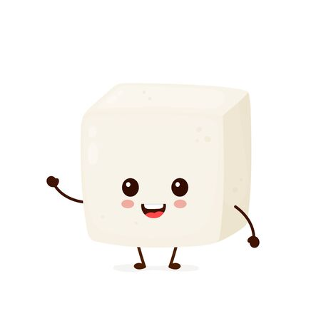 Happy cute smiling funny tofu. Vector flat cartoon character illustration icon design.Isolated on white background. Cute kawaii tofu character.Asian,vegan,vegetarian healthy food concept 矢量图像