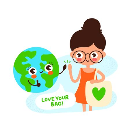 Cute happy Earth planet and young girl with eco bag with green heart.Vector hand drawing flat style illustration icon design. Isolated on white background. Eco friendly,save ecology,Earth day concept
