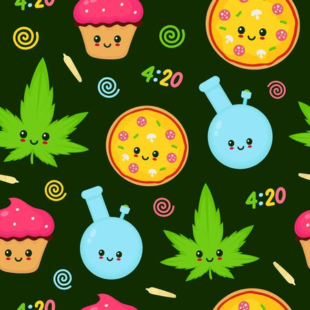 Cute kawaii marijuana weed seamless pattern.Vector flat cartoon character illustration design.Marijuana,weed,ganja,4:20,pizza,bong,blunt,joint,cupcake,cute kawaii cannabis seamless pattern concept