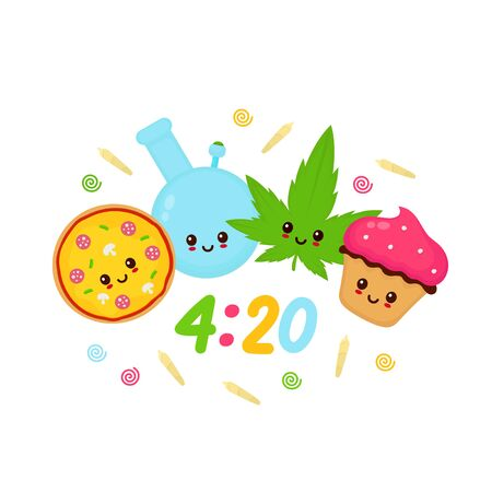 Happy cute smiling kawaii bong,cannabis leaf,pizza,cupcake. Vector flat cartoon character illustration icon.Isolated on white background.
