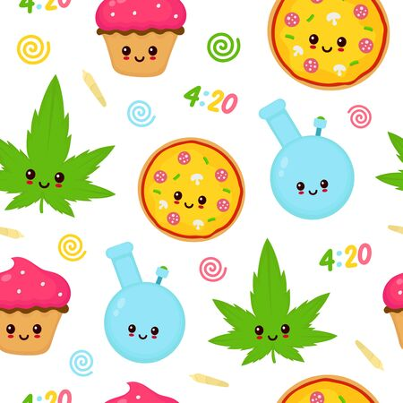 Cute kawaii marijuana weed seamless pattern.Vector flat cartoon character illustration design.