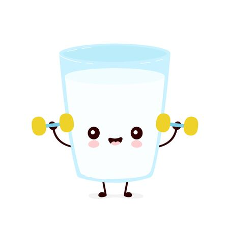 Cute smiling happy milk glass with dumbbels. Vector flat cartoon character illustration.Isolated on white background.Milk glass character concept