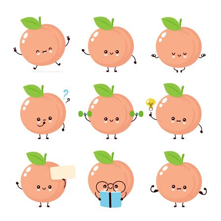 Cute happy smiling peach. Vector flat cartoon character illustration icon design. Isolated on white background. Peach fruit  concept Imagens - 129197844