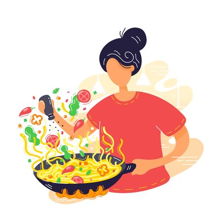 Young woman coocking noodles in wok frying pan. Vector modern trendy flat style cartoon character illustration icon design. Isolated on white background. Coffee concept. Wok home cooking concept