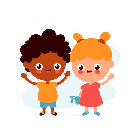 Cute happy funny smiling boy and girl. Vector flat cartoon character icon design. Isolated on white background. Friends kids concept