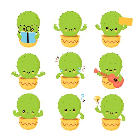 Cute happy smiling cactus emotions set collection. Vector flat cartoon illustration icon design. Isolated on white background. Cactus in pot concept Фото со стока - 129197927