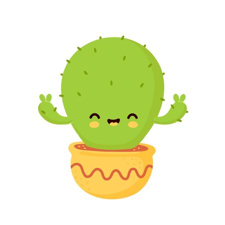 Cute happy smiling cactus. Vector flat cartoon illustration icon design. Isolated on white background. Cactus in pot concept