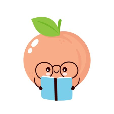 Cute happy smiling peach read book. Vector flat cartoon character illustration icon design. Isolated on white background. Peach fruit  concept Imagens - 129197946