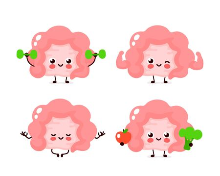 Strong cute healthy happy human intestine organ character set. Vector flat cartoon illustration icon design. Isolated on white background. Healthy human intestine gym,meditate in yoga,sport concept