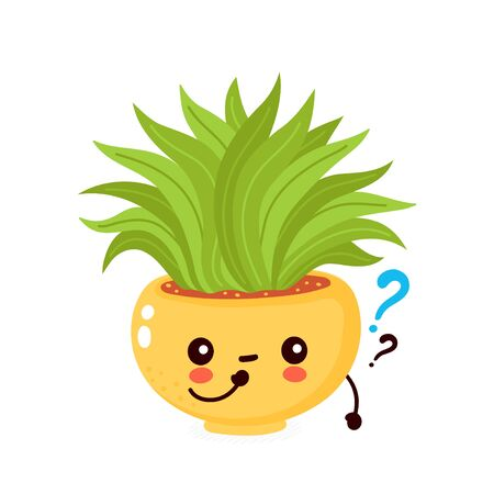 Cute happy smiling plant in pot with question mark. Vector flat cartoon illustration icon design. Isolated on white background. Plant think concept