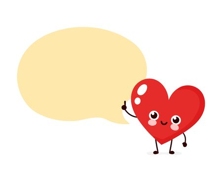 Cute happy heart with speech bubble. Vector flat cartoon character illustration icon design. Isolated on white background. Heart speak concept Иллюстрация