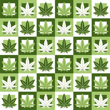 Marihuana, grünes Unkraut, nahtloses Muster im abstrakten Geometriequadrat. Vektorillustrationshintergrunddesign. Marihuanablatt nahtloses Muster