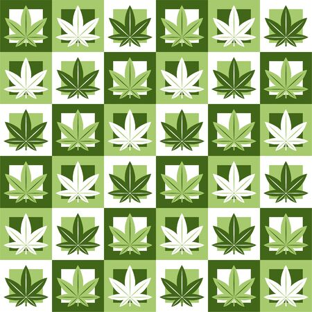 Marijuana,green weed, dope seamless pattern in abstract geometry square. Vector illustration background design.Marijuana leaf seamless pattern