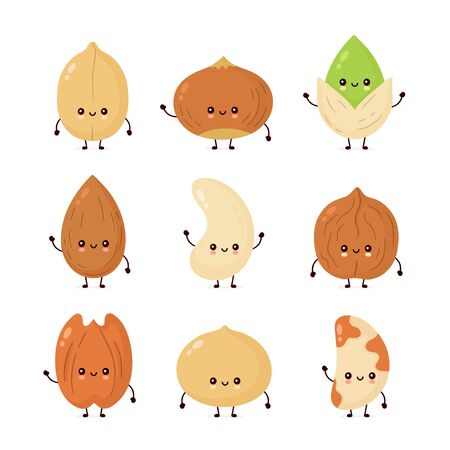 Cute happy nuts set collection. Vector flat cartoon character illustration icon design. Isolated on white background. Peanut, hazelnut, walnut, Brazil nut, pistachio, cashew, pecan, almond characters